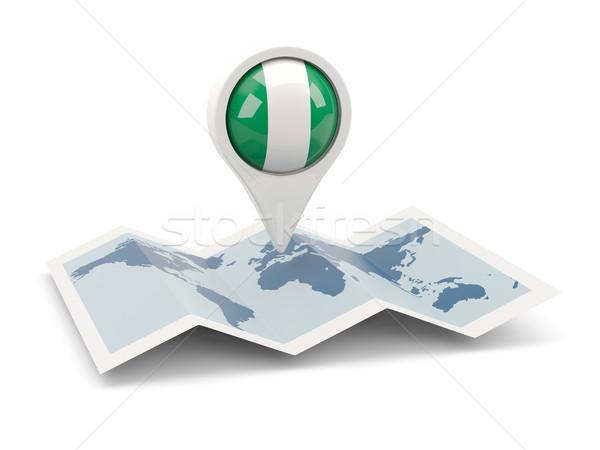 Pin bayrak Nijerya harita seyahat beyaz Stok fotoğraf © MikhailMishchenko