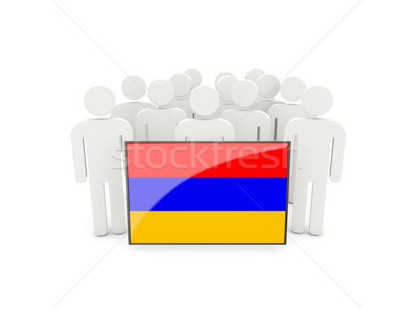 люди флаг Армения изолированный белый толпа Сток-фото © MikhailMishchenko