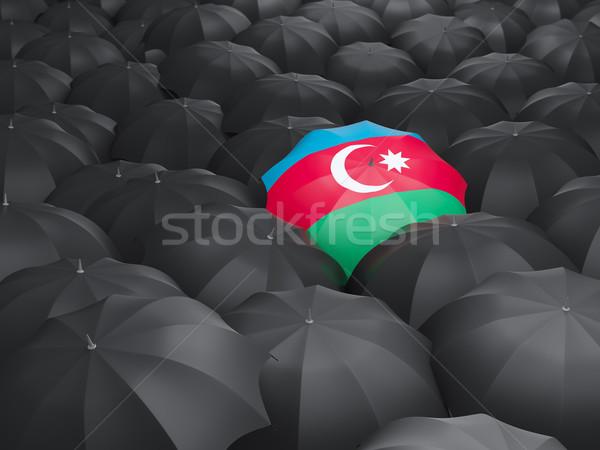 Parasol banderą Azerbejdżan czarny parasole deszcz Zdjęcia stock © MikhailMishchenko