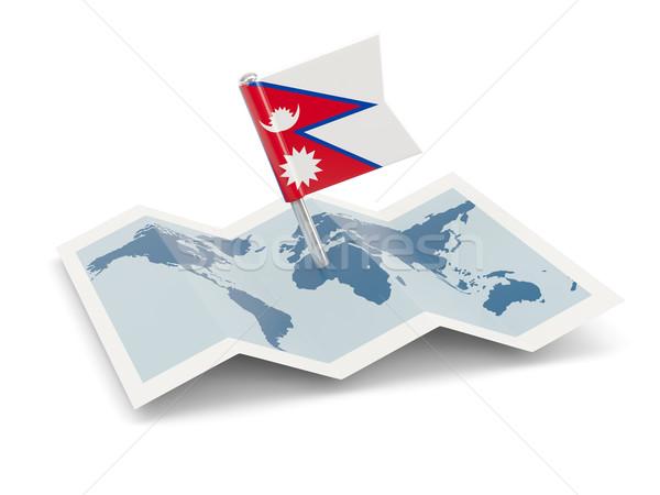 Térkép zászló Nepál izolált fehér Stock fotó © MikhailMishchenko