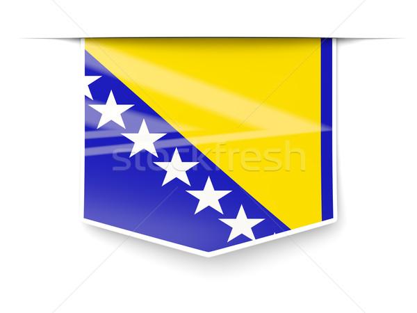 Cuadrados etiqueta bandera Bosnia Herzegovina aislado blanco Foto stock © MikhailMishchenko