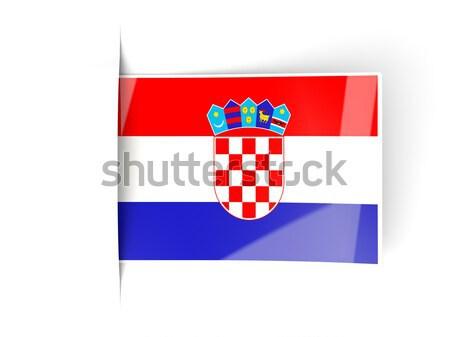 Carré étiquette pavillon Croatie isolé blanche Photo stock © MikhailMishchenko
