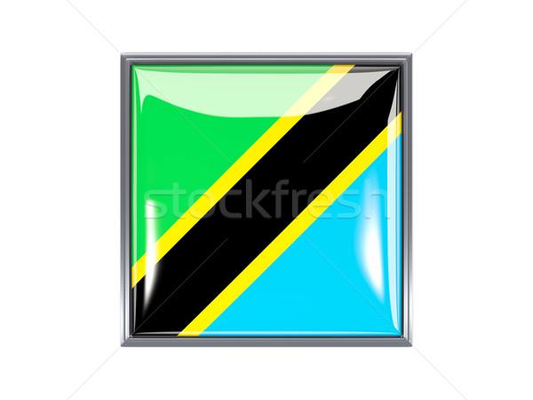 Kare ikon bayrak Tanzanya Metal çerçeve Stok fotoğraf © MikhailMishchenko