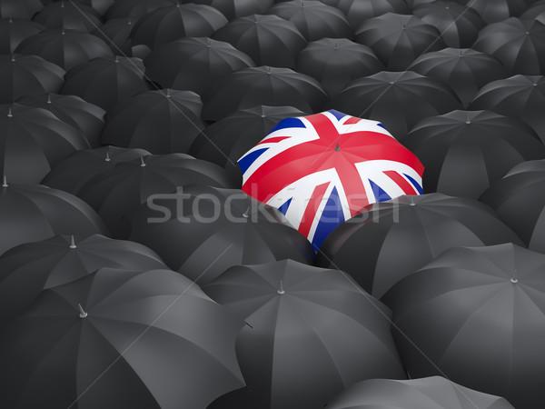 Paraplu vlag Verenigd Koninkrijk zwarte parasols regen Stockfoto © MikhailMishchenko