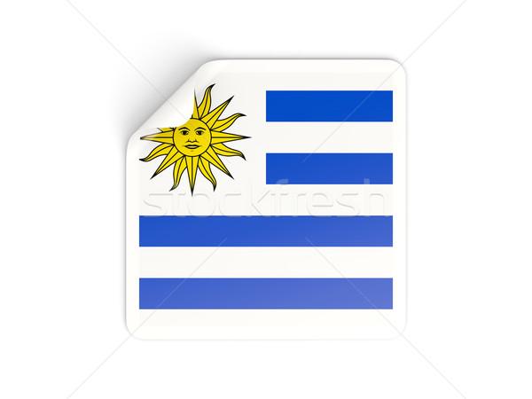 Tér matrica zászló Uruguay izolált fehér Stock fotó © MikhailMishchenko