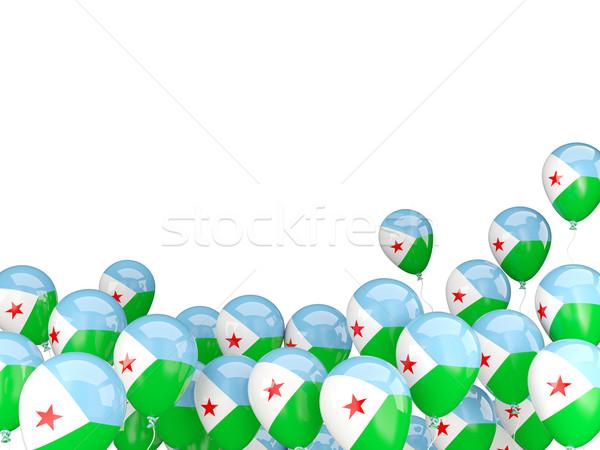 Pływające balony banderą Dżibuti odizolowany biały Zdjęcia stock © MikhailMishchenko
