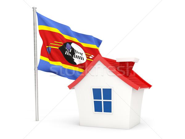 Domu banderą Suazi odizolowany biały domu Zdjęcia stock © MikhailMishchenko