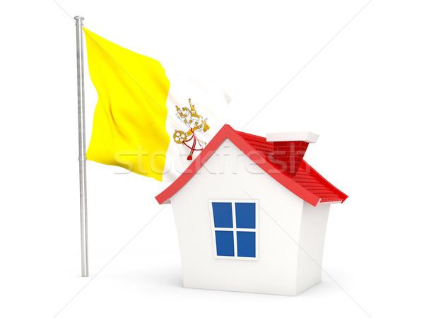 Foto stock: Casa · bandeira · Cidade · do · Vaticano · isolado · branco · casa