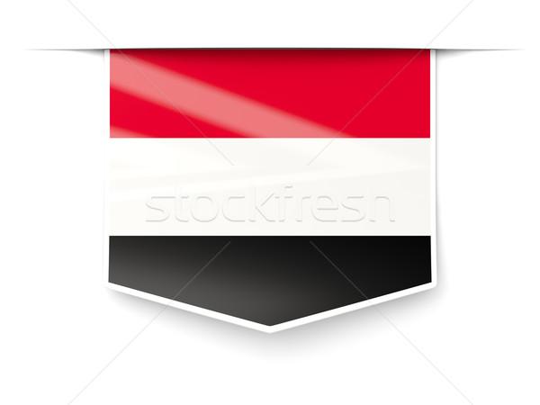 Stockfoto: Vierkante · label · vlag · Jemen · geïsoleerd · witte