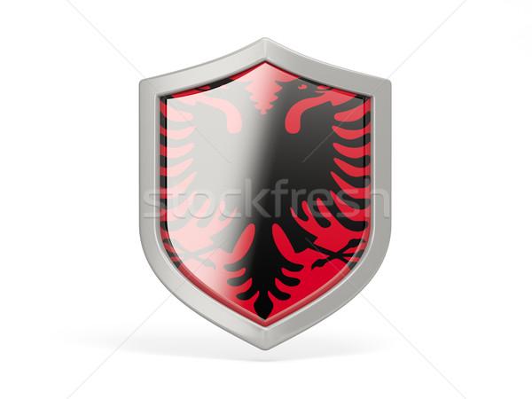 Shield icon with flag of albania Stock photo © MikhailMishchenko