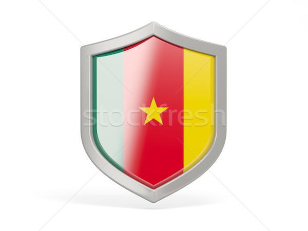 Tarcza ikona banderą Kamerun odizolowany biały Zdjęcia stock © MikhailMishchenko