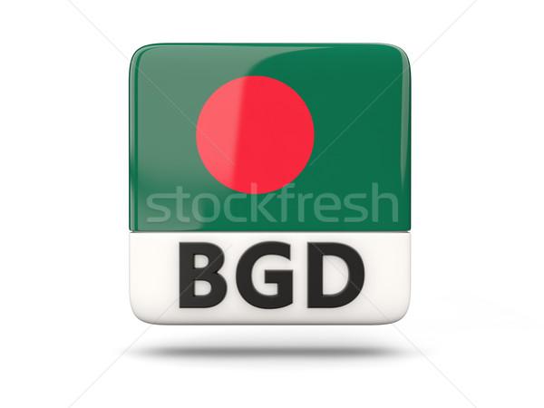 Praça ícone bandeira Bangladesh iso código Foto stock © MikhailMishchenko