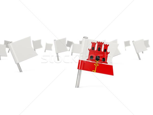 Placu pin banderą gibraltar odizolowany biały Zdjęcia stock © MikhailMishchenko