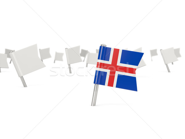 Square pin with flag of iceland Stock photo © MikhailMishchenko