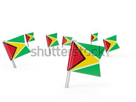 Praça pin bandeira Vanuatu isolado branco Foto stock © MikhailMishchenko