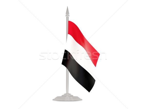 Banderą Jemen maszt 3d odizolowany biały Zdjęcia stock © MikhailMishchenko