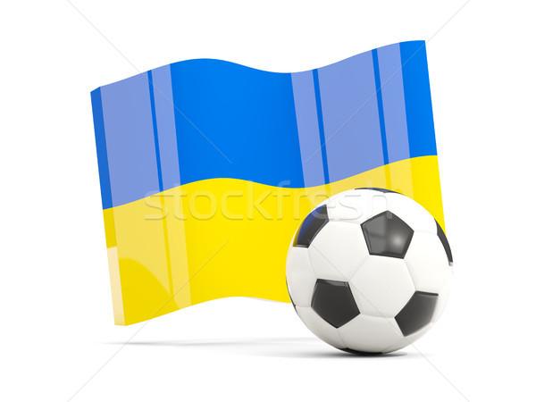 Football with waving flag of ukraine isolated on white Stock photo © MikhailMishchenko