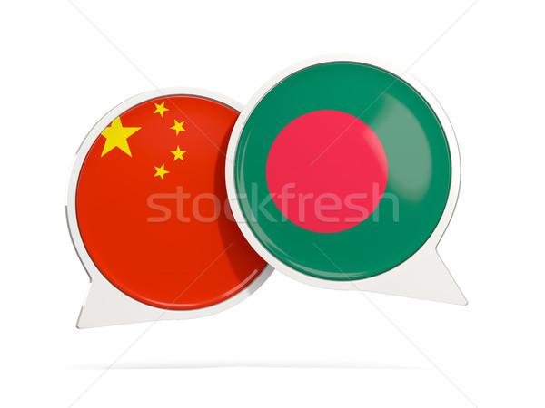 Chat buborékok Kína Banglades izolált fehér Stock fotó © MikhailMishchenko
