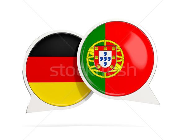 Conversar bubbles Alemanha Portugal isolado branco Foto stock © MikhailMishchenko