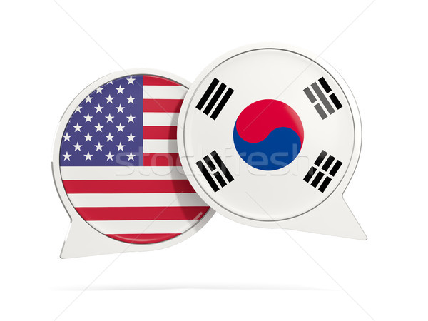 Chat bubbles of USA and South Korea isolated on white Stock photo © MikhailMishchenko