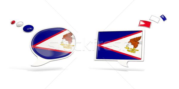 Dois conversar ícones bandeira Samoa Americana praça Foto stock © MikhailMishchenko