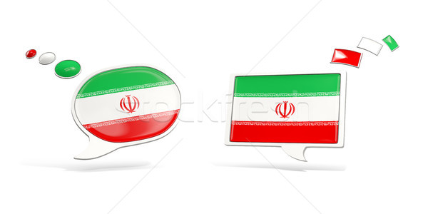 Two chat icons with flag of iran Stock photo © MikhailMishchenko