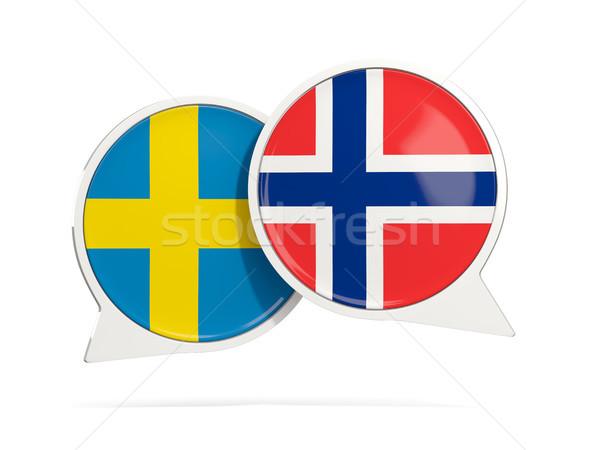 Conversar bubbles Suécia Noruega isolado branco Foto stock © MikhailMishchenko