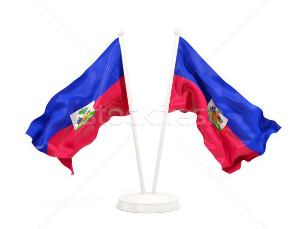Iki bayraklar Haiti yalıtılmış beyaz Stok fotoğraf © MikhailMishchenko