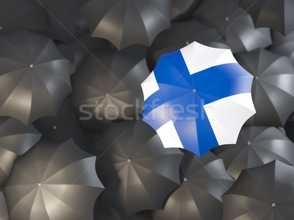 Guarda-chuva bandeira Finlândia topo preto guarda-chuvas Foto stock © MikhailMishchenko