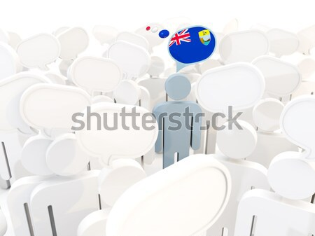 Man with flag of barbados in a crowd Stock photo © MikhailMishchenko