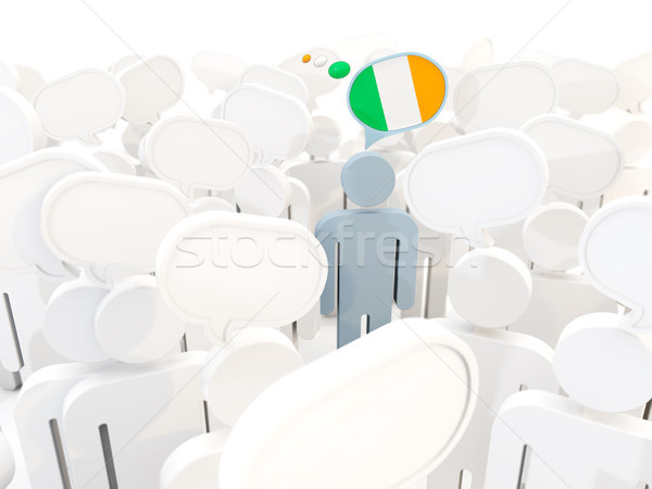Homme pavillon Irlande foule 3d illustration Voyage Photo stock © MikhailMishchenko