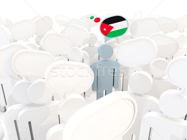 Człowiek banderą Jordania tłum 3d ilustracji podpisania Zdjęcia stock © MikhailMishchenko
