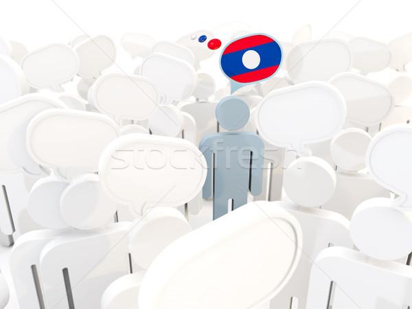 Man vlag Laos menigte 3d illustration teken Stockfoto © MikhailMishchenko