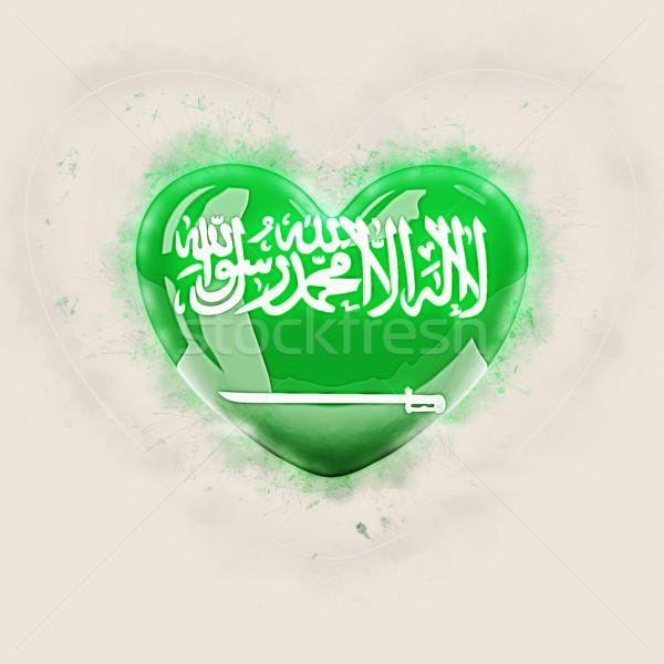Coração bandeira Arábia Saudita grunge ilustração 3d viajar Foto stock © MikhailMishchenko