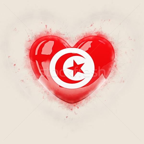 сердце флаг Тунис Гранж 3d иллюстрации путешествия Сток-фото © MikhailMishchenko
