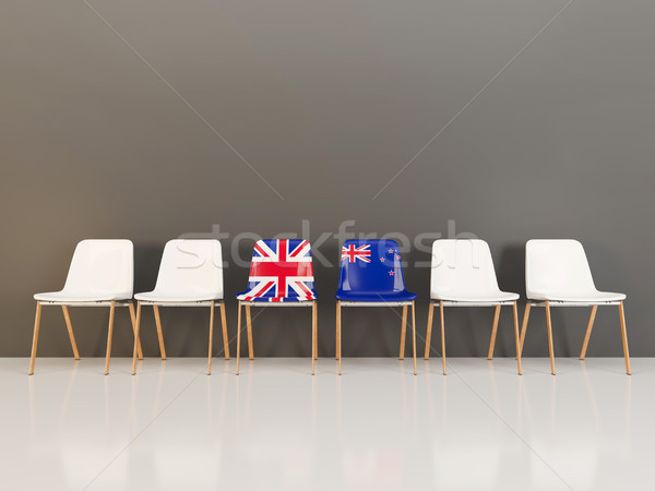 Székek zászló Egyesült Királyság Új-Zéland csetepaté 3d illusztráció Stock fotó © MikhailMishchenko