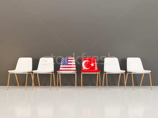 Chairs with flag of usa and turkey Stock photo © MikhailMishchenko