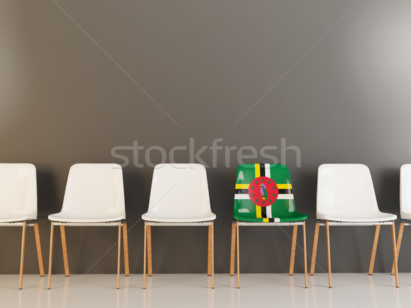 Stoel vlag Dominica rij witte stoelen Stockfoto © MikhailMishchenko