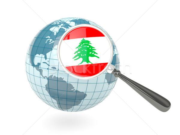 Nagyított zászló Libanon kék földgömb izolált Stock fotó © MikhailMishchenko