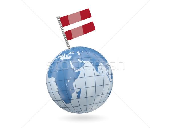 Földgömb zászló Lettország kék izolált fehér Stock fotó © MikhailMishchenko