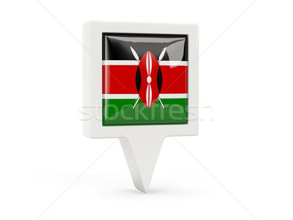 Tér zászló ikon Kenya izolált fehér Stock fotó © MikhailMishchenko