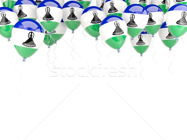Ballon cadre pavillon Lesotho isolé blanche Photo stock © MikhailMishchenko