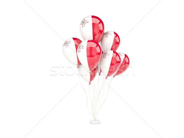 Vliegen ballonnen vlag Malta geïsoleerd witte Stockfoto © MikhailMishchenko