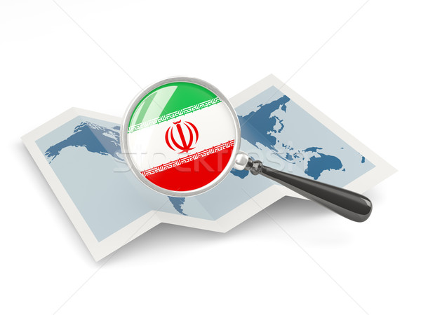 Magnified flag of iran with map Stock photo © MikhailMishchenko