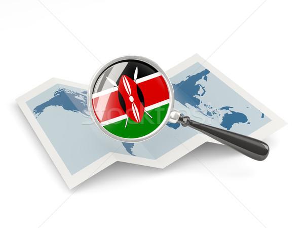 拡大された フラグ ケニア 地図 旅行 ストックフォト © MikhailMishchenko