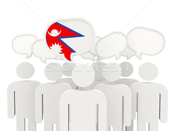 Personas bandera Nepal aislado blanco reunión Foto stock © MikhailMishchenko