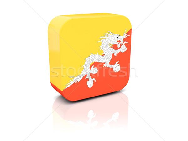 Vierkante icon vlag Bhutan reflectie witte Stockfoto © MikhailMishchenko