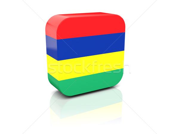 Cuadrados icono bandera Mauricio reflexión blanco Foto stock © MikhailMishchenko