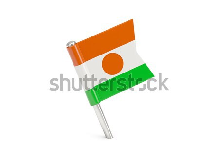 Bandera pin Níger aislado blanco Foto stock © MikhailMishchenko