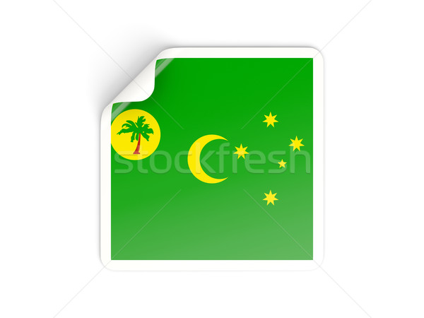 Square sticker with flag of cocos islands Stock photo © MikhailMishchenko